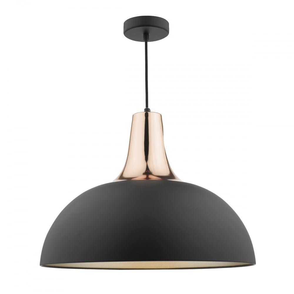 Smart modern matte black and copper ceiling pendant with dome shade dar lighting toronto matt black and copper pendant fitting type from dusk lighting uk aloadofball Image collections