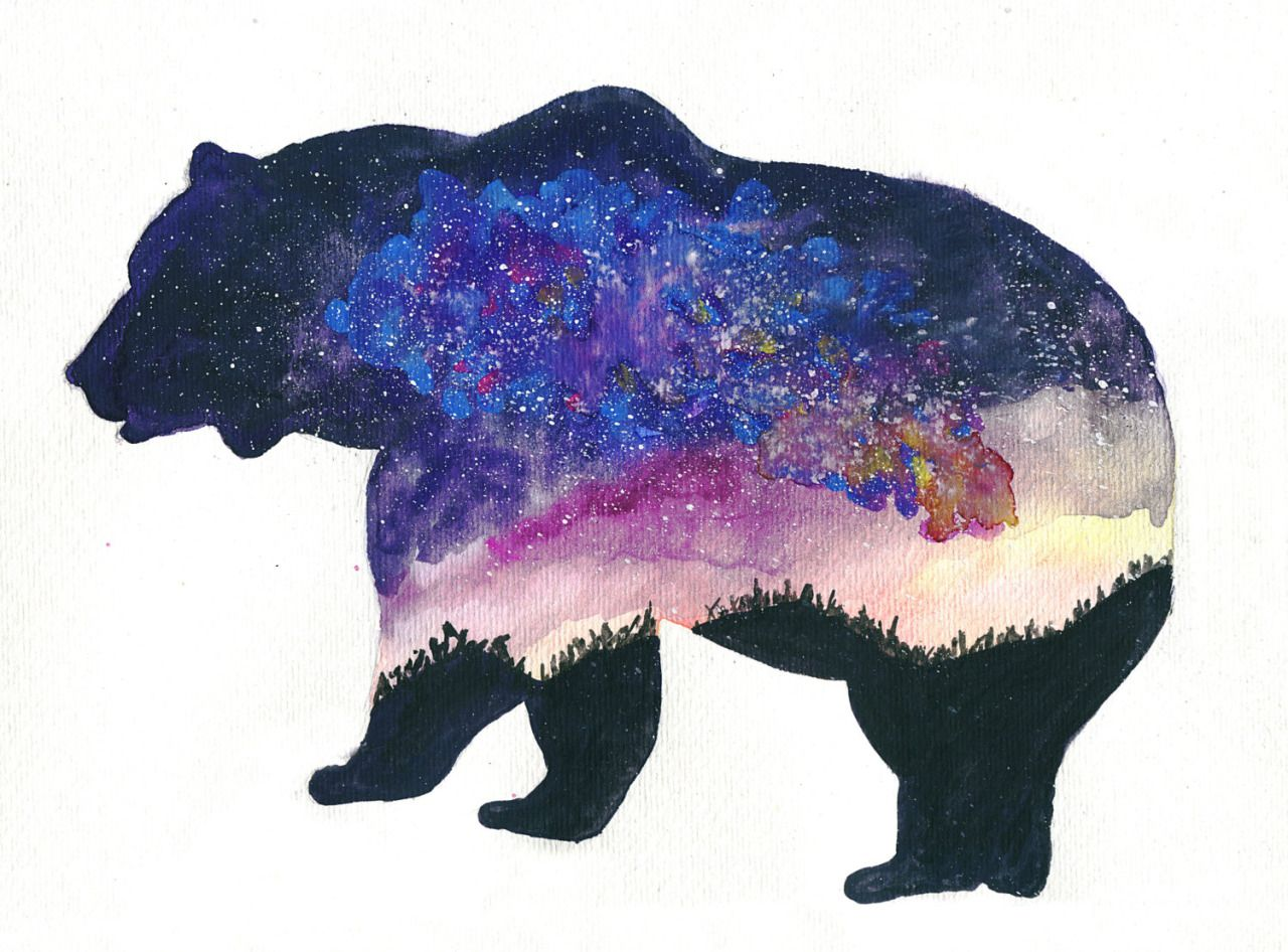 Grizzly Bear Watercolour Tattoo Art Drawings