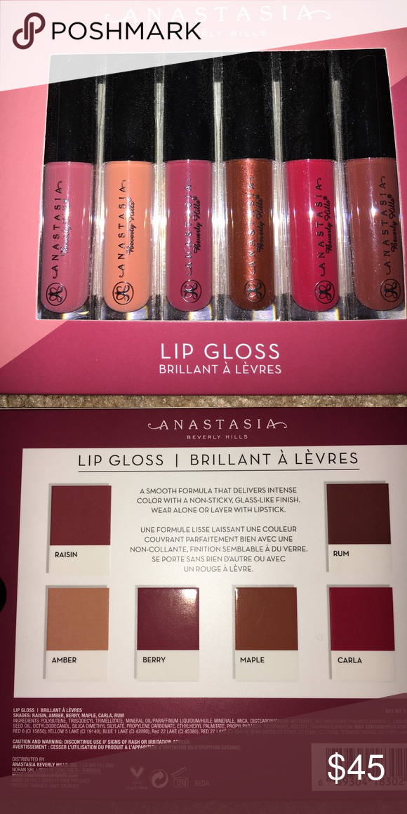 AUTHENTIC ABH LIPGLOSS MINIS Limited edition, authentic, purchased from ABH website. Comes with raisin, Amber, berry, maple, run and Carla Anastasia Beverly Hills Makeup Lip Balm & Gloss
