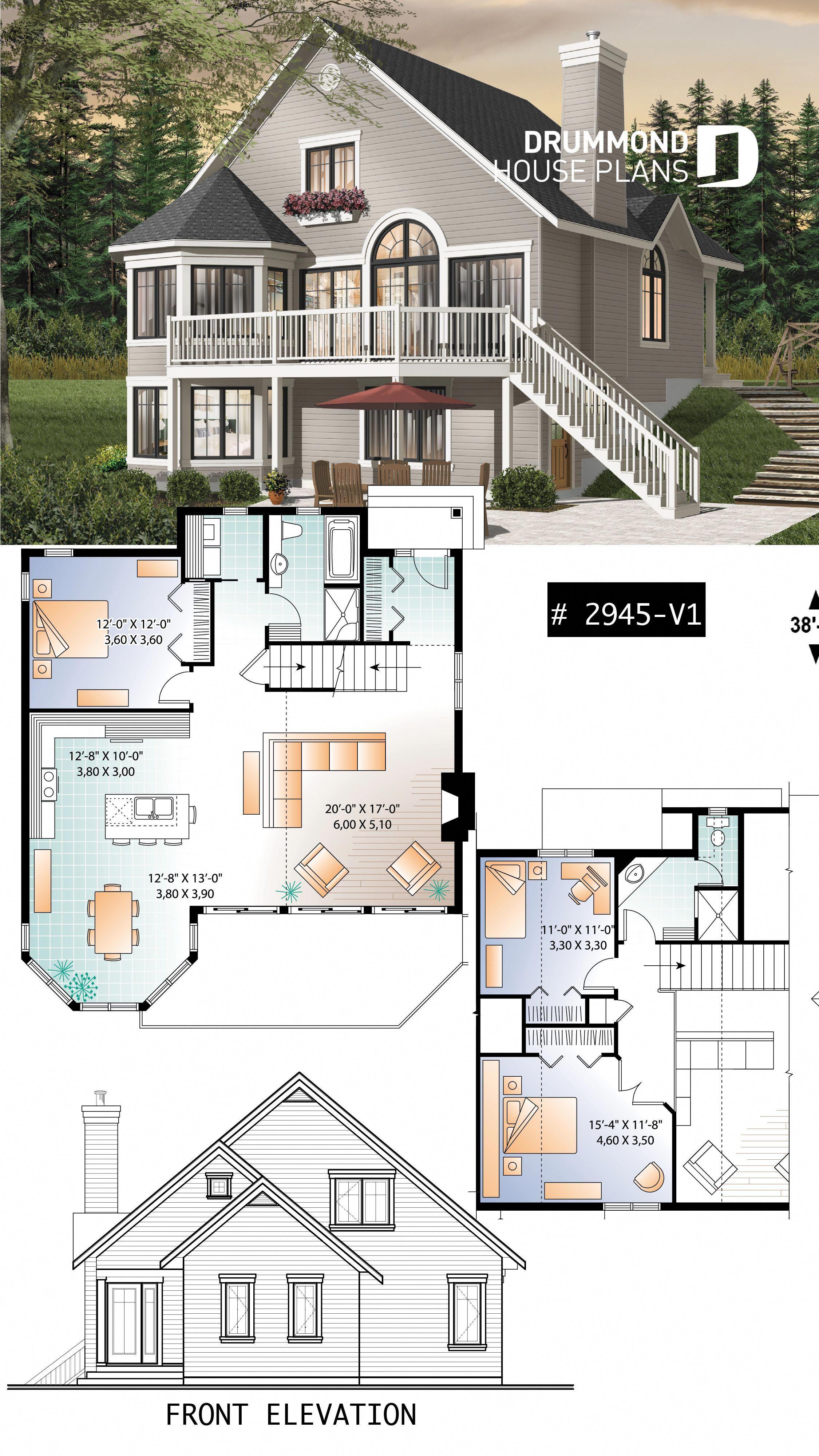 Popular 3 Bedroom Chalet With Mezzanine And Convivial Floor Plan Chalet Cottage Plan Houseplan H Sims 4 House Building Sims House Plans Sims 4 House Plans