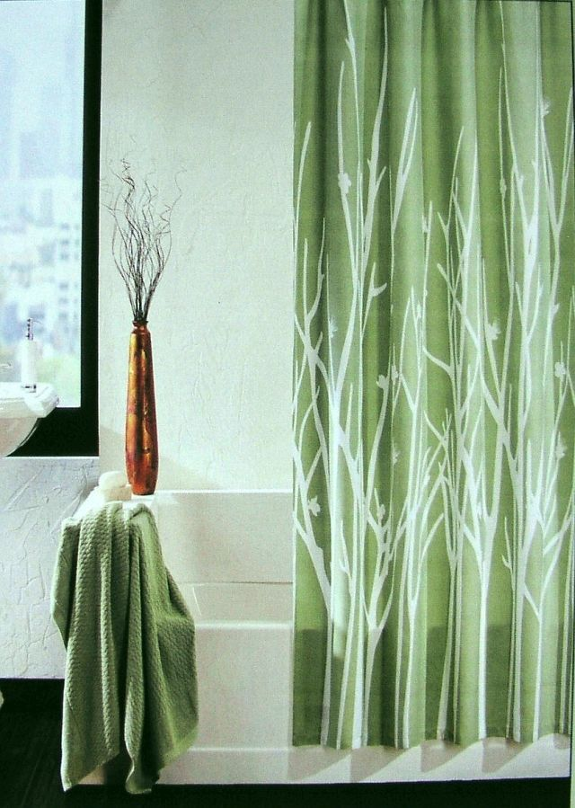 Hotel Twenty One Shower Curtain Leaves Branches Sage Green White