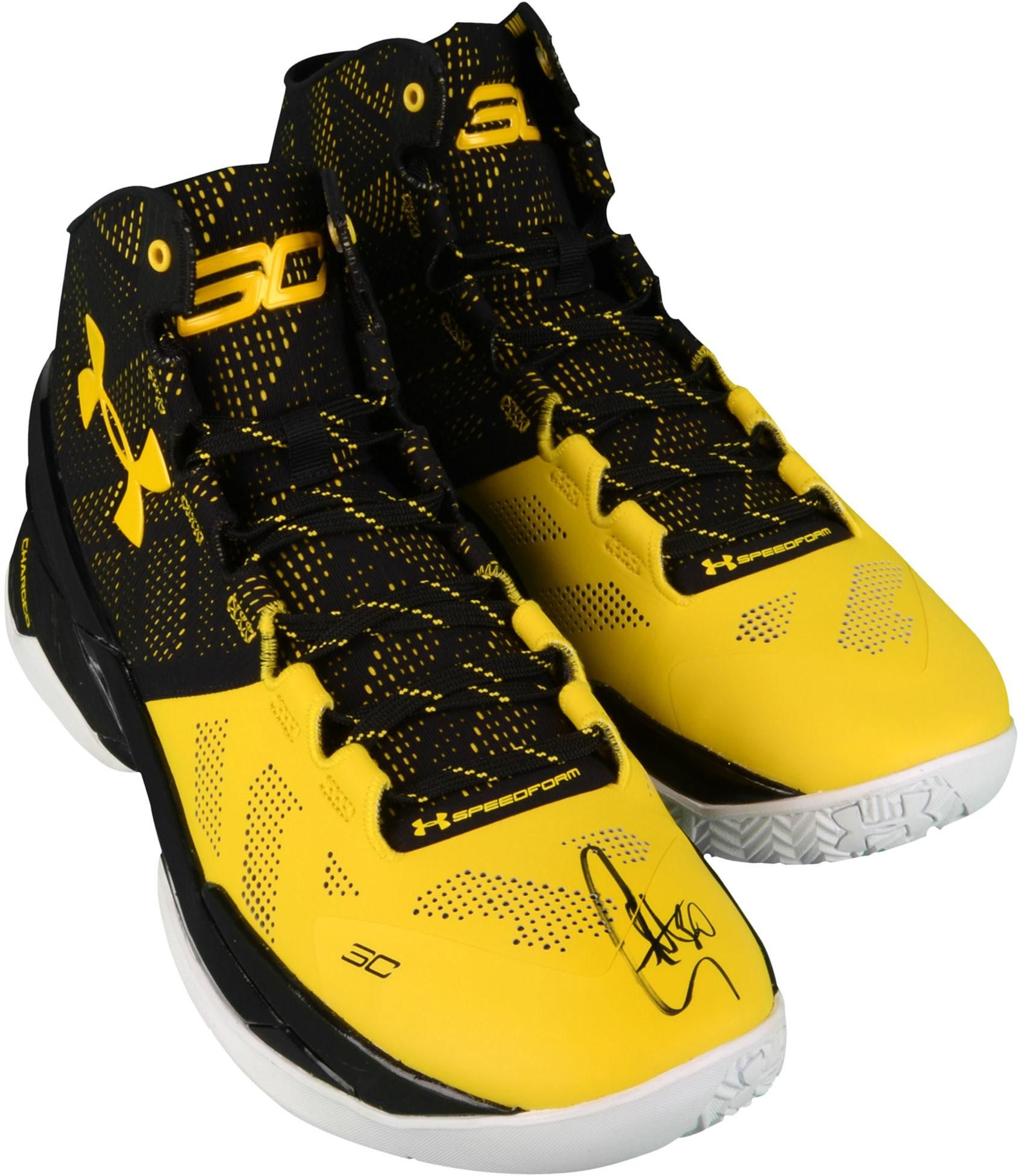 5a23bddcc4e9 Stephen Curry Golden State Warriors Autographed Curry 2 Black and Yellow  Shoes
