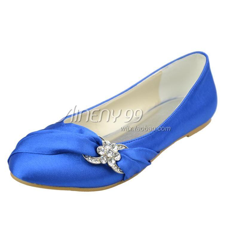 flat blue wedding shoes | Aineny99 bridal shoes round toe single ...