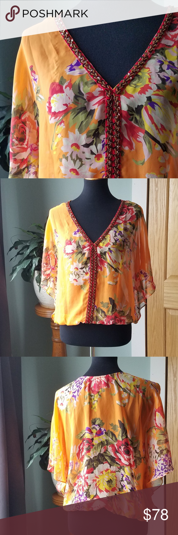 044dca673c1 Free People Sheer Genius Free People Sheer Genius Blouse, size S. Vibrant  flower pattern