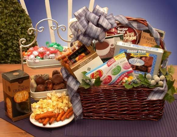 Simply sugar free diabetic or dieter gift basket goodies treats diabetic sugar free gourmet gift basket heres a hard to find gift for the diabetic or for the dieter the simply sugar free gift basket brings goodies and negle Image collections
