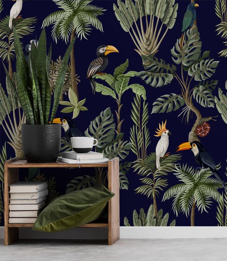 Jungle Animals Retro Wallpaper Peel And Stick Wallpaper Etsy In 2020 Jungle Bedroom Decor Wallpaper Decor Retro Wallpaper