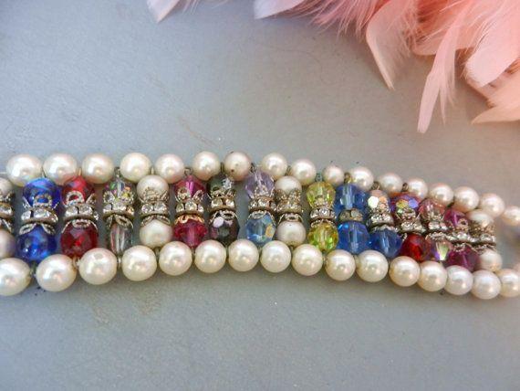 Bracelet Vintage Pearls Crystals Rhinestones by hollywoodesign, $42.00