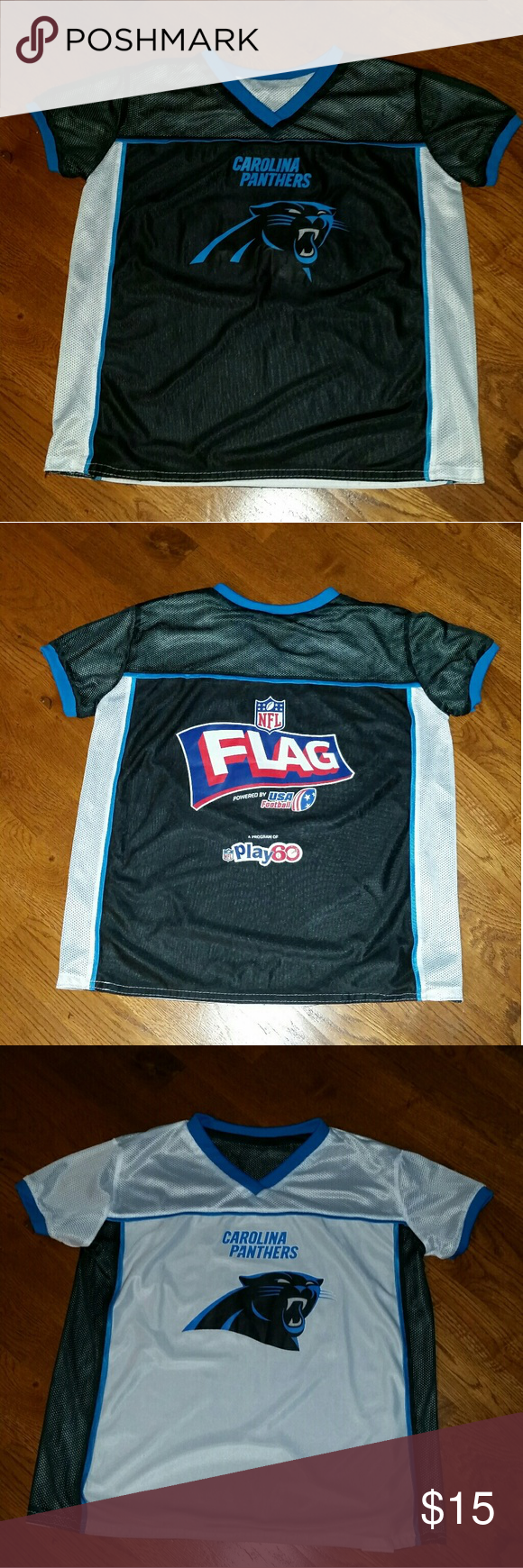Carolina Panthers Nfl Flag Football Jersey Size Yl Official Boy S