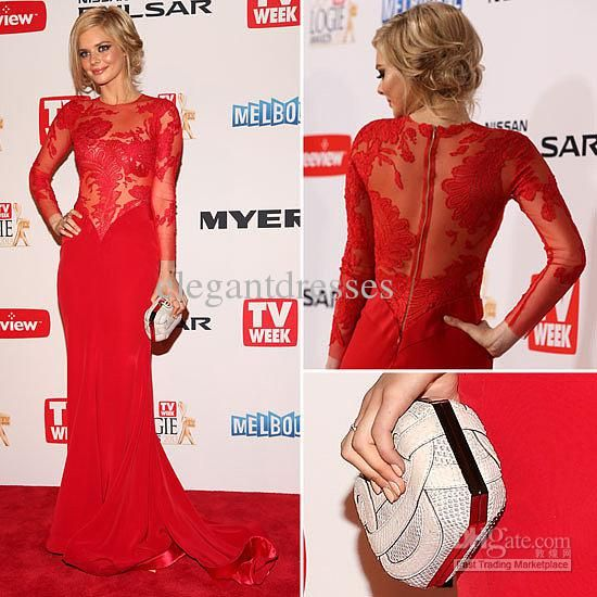 Wholesale Celebrity Dresses - Buy 2013 Red Long Sleeve Evening ...