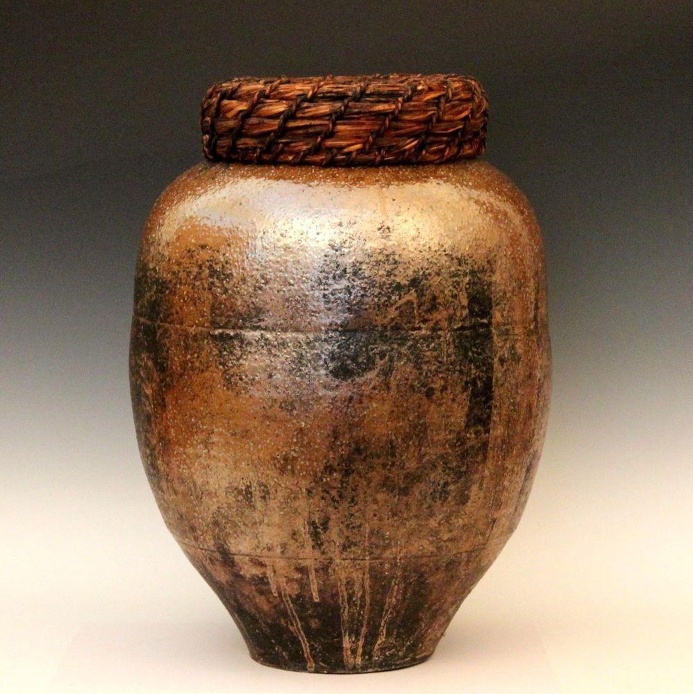 Oldantique japanese shigaraki pottery black glaze storage jar antique japanese shigaraki folk art pottery mingei jar vase tea ceremony wcover reviewsmspy