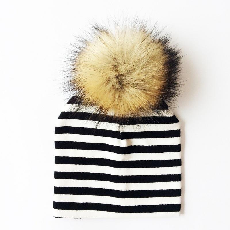 bb1c57f3525 Baby Hat Faux Raccoon Fur- Winter Pompom Bobble Kids Cap- Striped  Children s Hats