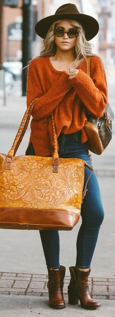 Fall colors and textures // rust colored sweater, brown felt hat, tortoiseshell glasses, oversized leather bag and denim