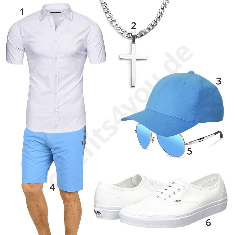 Hellblau Weißes Herren Outfit mit Kurzarmhemd (m0441