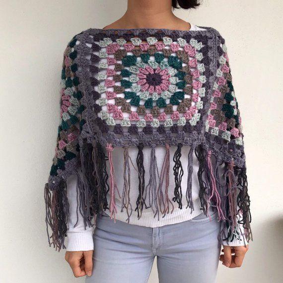 Granny square poncho, crochet poncho, jumper,handmade poncho, colourful poncho, boho style, hippie style #grannysquareponcho
