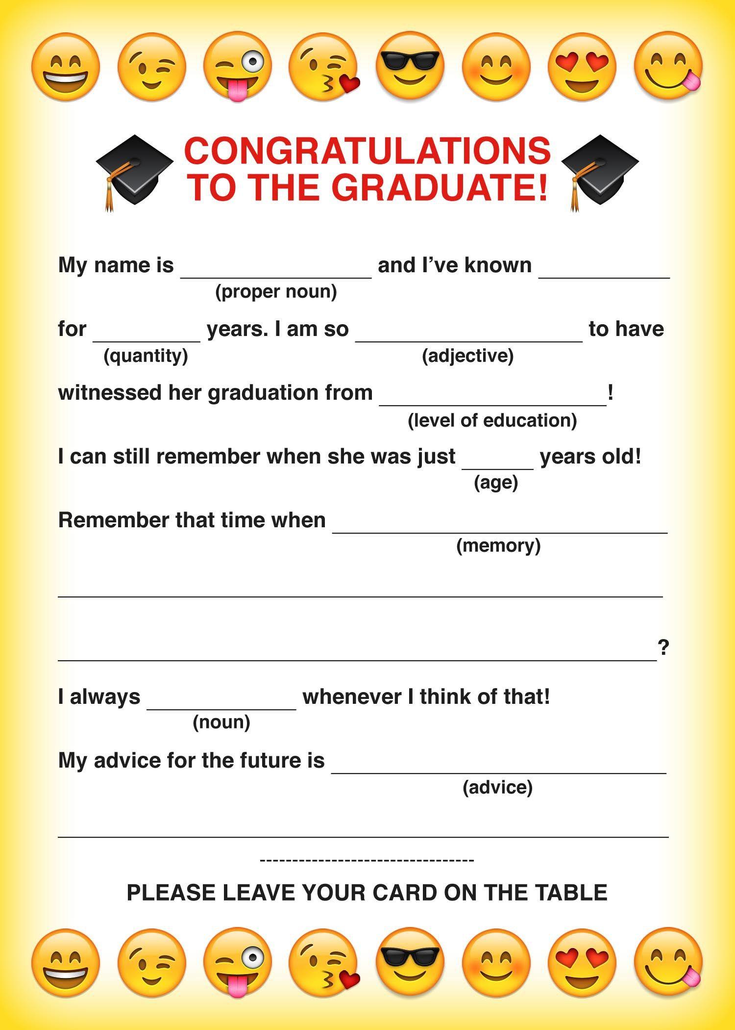 Emoji Free Printable Graduation Mad Libs Card Back To