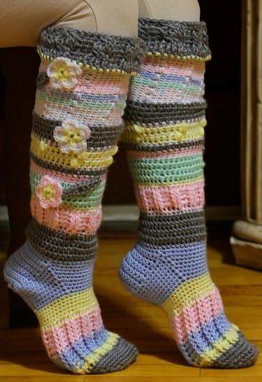 Colorful Knee High Socks Free Crochet Socks And Slipper Patterns