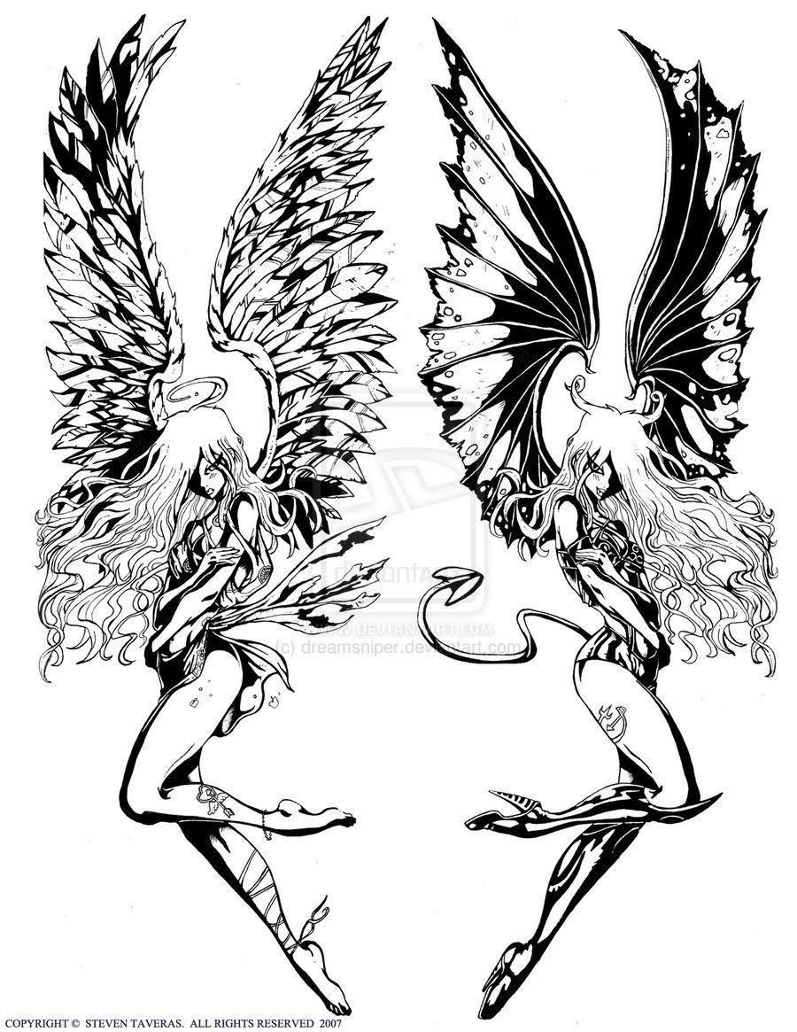 Demon Angel By Dreamsniper On Deviantart Fairy Tattoos Angel Vs