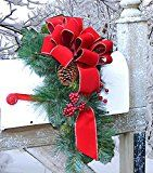 Outdoor Holiday Mailbox Swag with Bow CR1022 Decorations-Pine