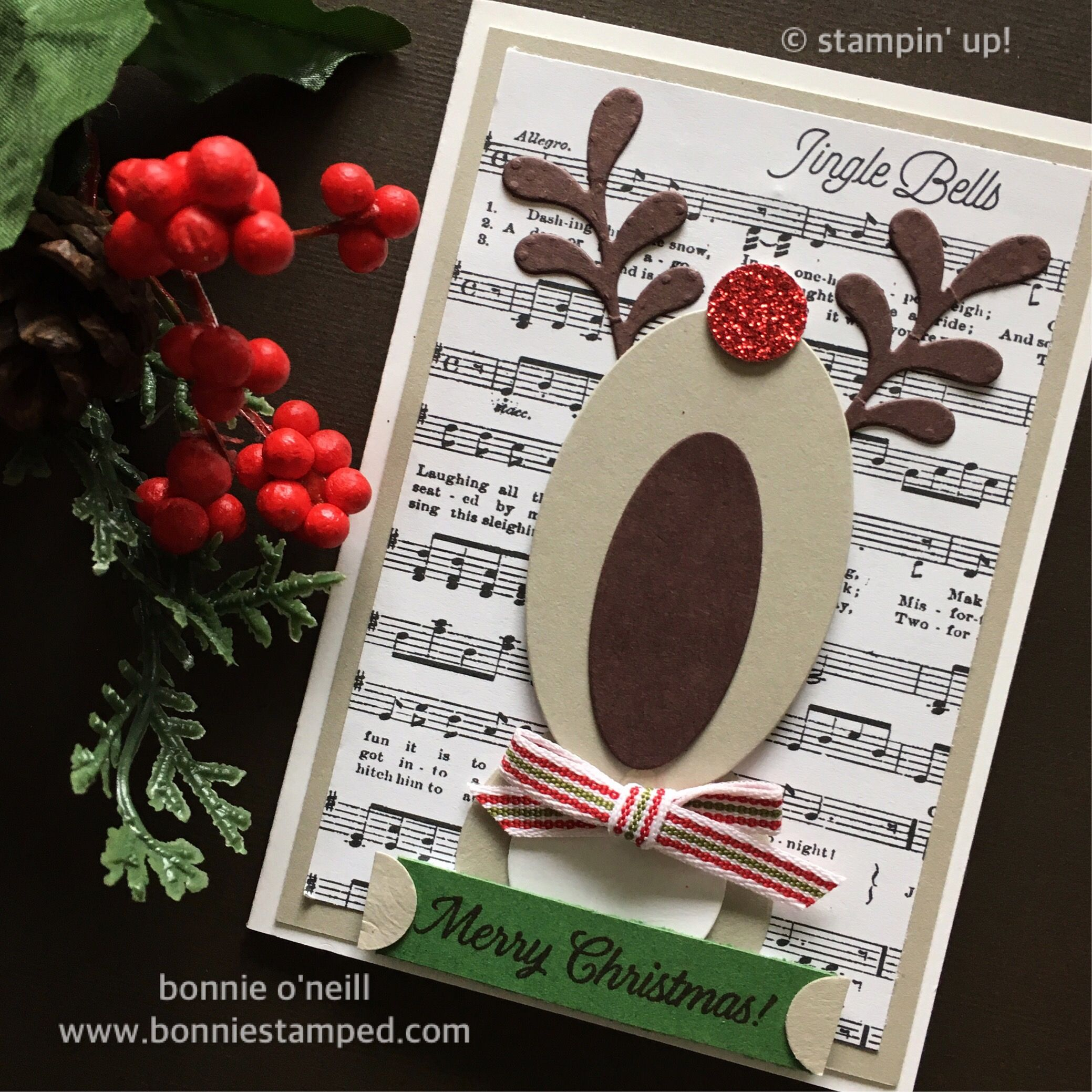 Holiday Stamp-a-Stack Reindeer Card