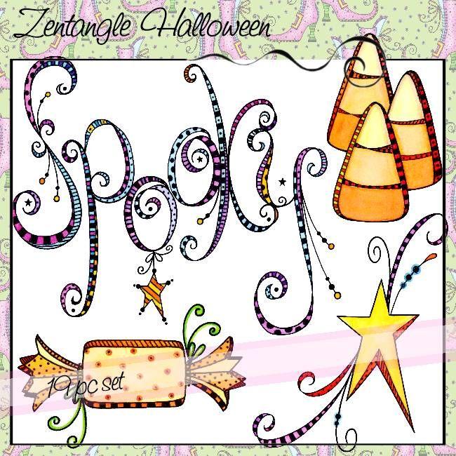 Zentangle Halloween Kritzelzeichnungen, Kreativer