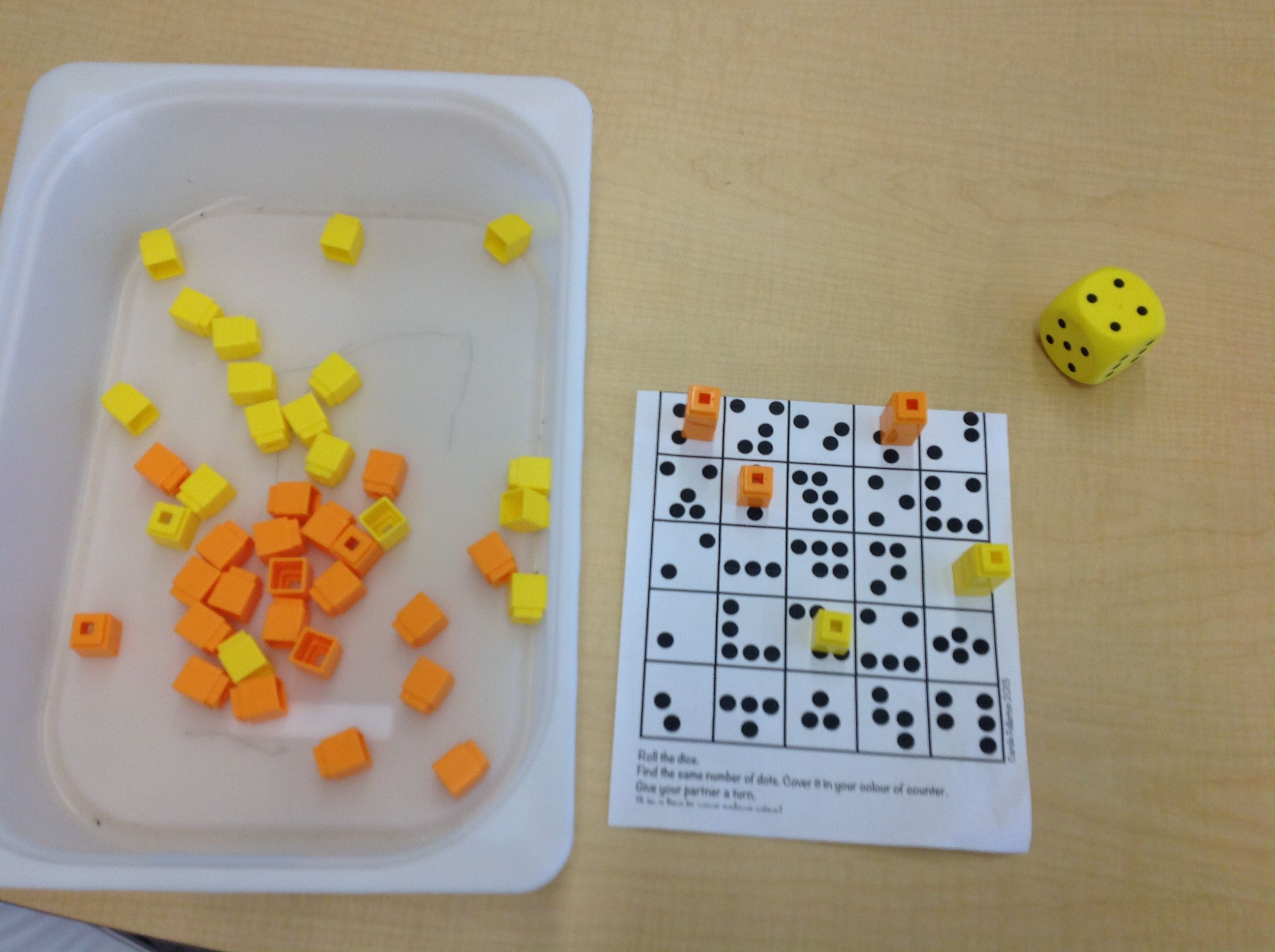 Bump Students Roll A And Place A Cube On A Dot