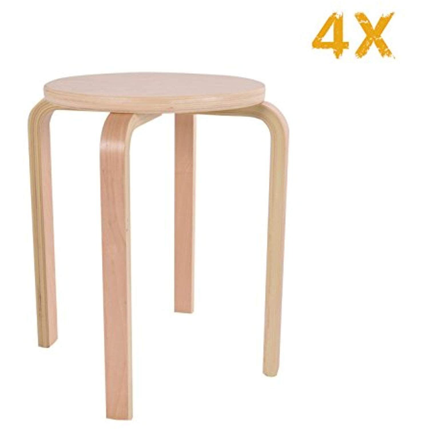 Costroyce Set Of 4 Classroom 17 Natural Wood Seating Chairs