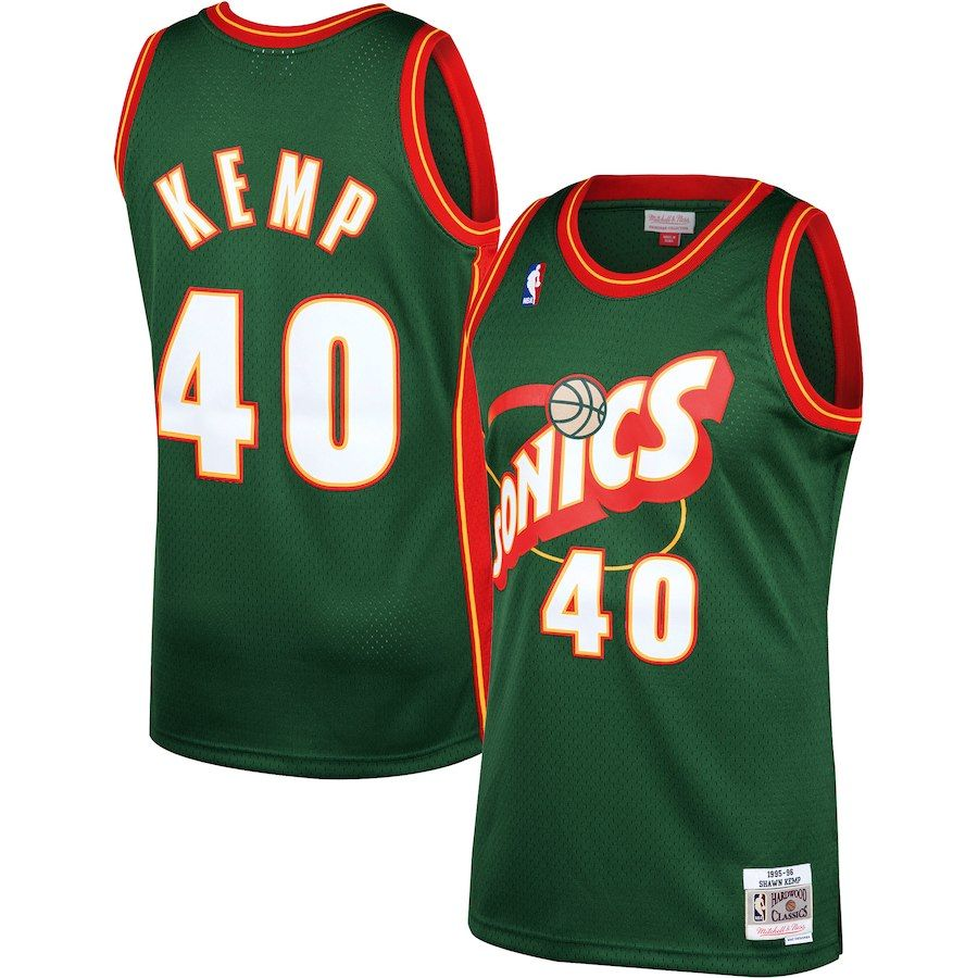 b71630a4c Men s Seattle SuperSonics Shawn Kemp Mitchell   Ness Green 1995-96 Hardwood  Classics Swingman Jersey