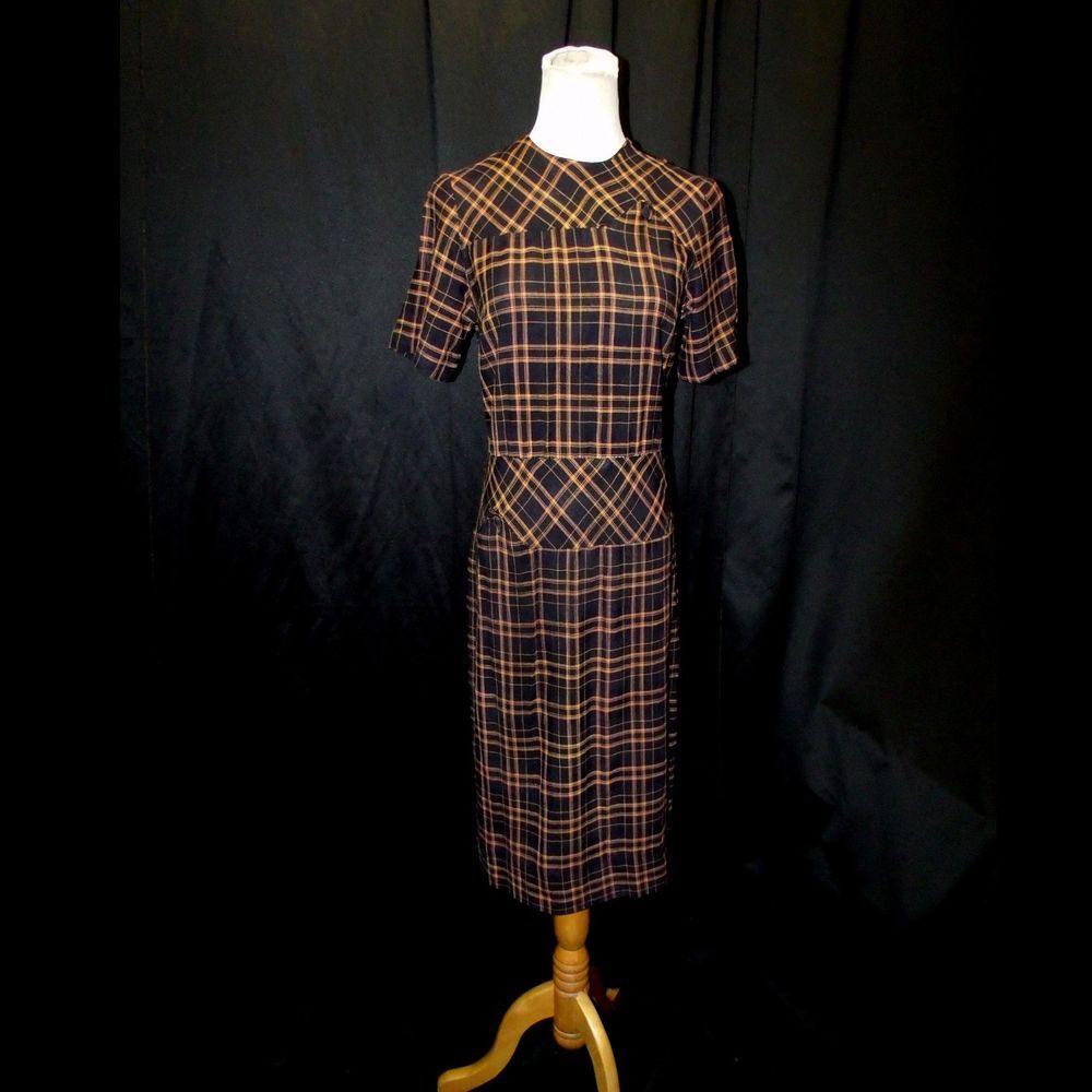 Vtg 40s Wartime Wwii Toni Todd Black Orange Plaid Dress With Button Detail Xs S Womens Vintage Dresses Dresses Orange Plaid
