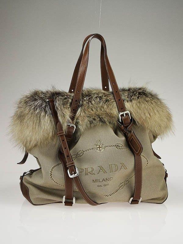 Prada Beige Fox Fur Jacquard Canvas Logo Tote Bag  6559d27102
