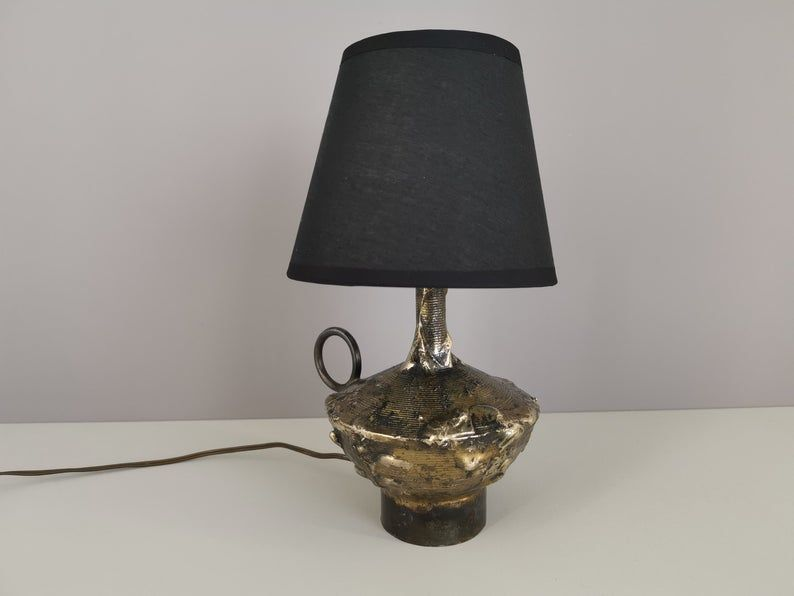 Brutalist Brass And Metal Table Lamp Desk Lamp 50s Mid Century 1950 Brutalist France Twentieth Century In 2020 Metal Table Lamps Lamp Table Lamp