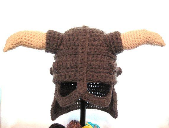 Skyrim Iron Dovahkiin Helmet with Horns in Crochet Fandom Oblivion Dragon  Hat 65b303292e
