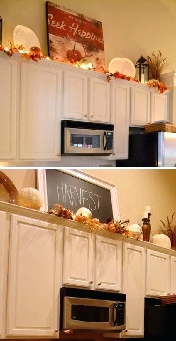 Top Of Cabinet Decor Ideas top Kitchen Cabinet Decorating ...