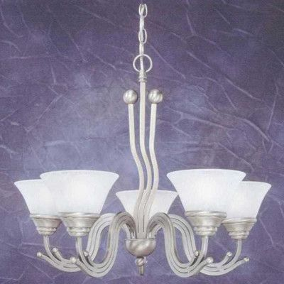 Toltec Lighting Wave 5 Light Chandelier With Marble Gl Shade Finish Br