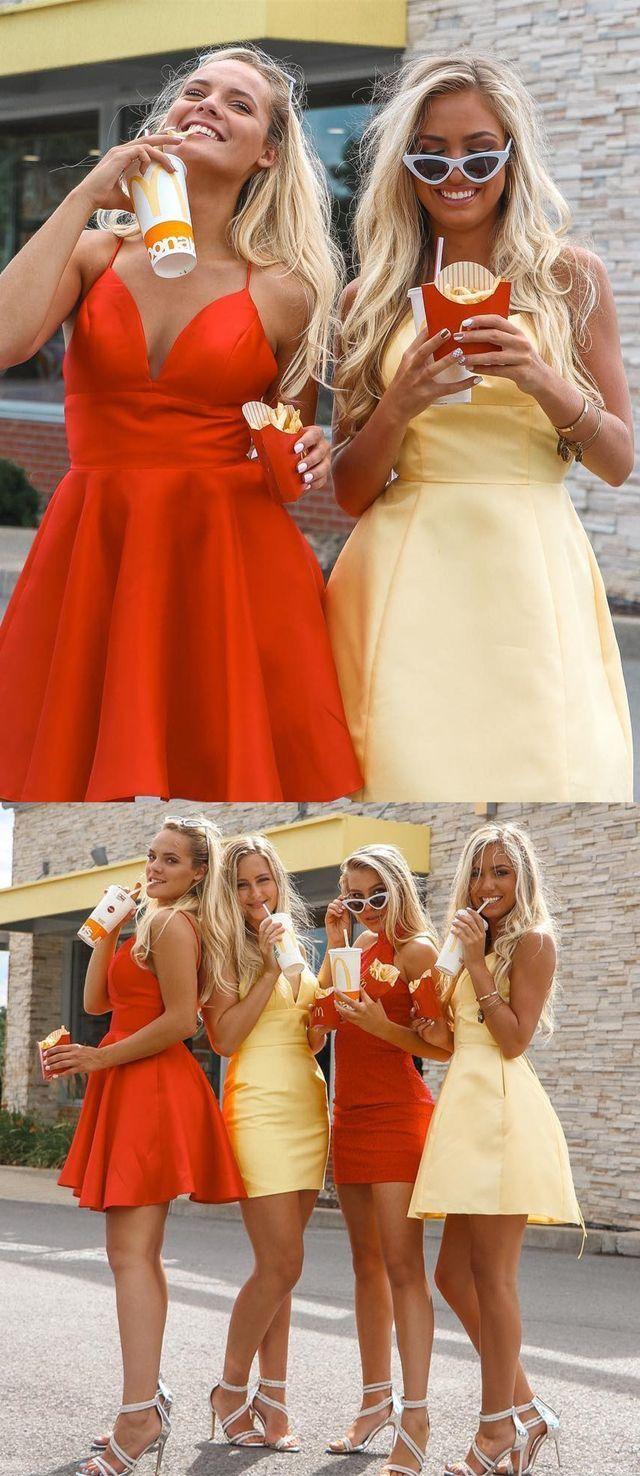 Simple v neck spaghetti straps short homecoming dresses criss cross