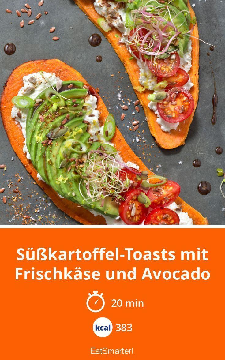 Süßkartoffel-Toasts mit Frischkäse und Avocado,  Süßkartoffel-Toasts mit Frischkäse und Avoca