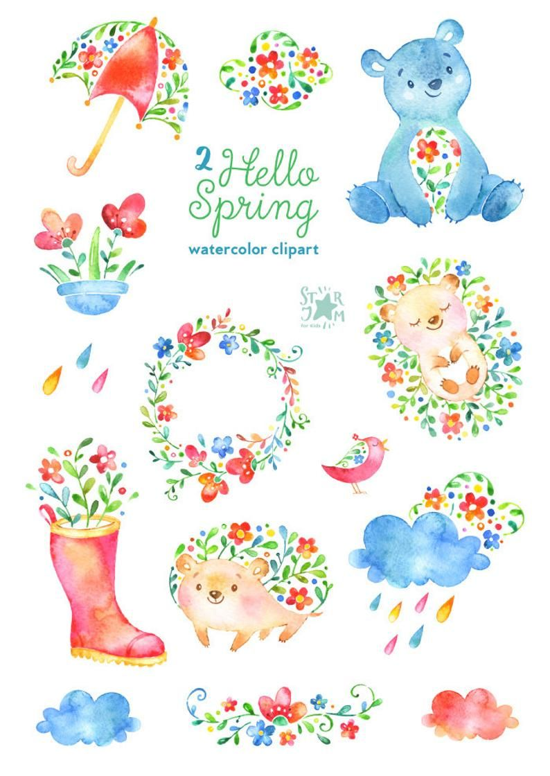 Hello Spring 2 Watercolor Animals And Floral Clipart Etsy In 2021 Hello Spring Clip Art Watercolor Animals