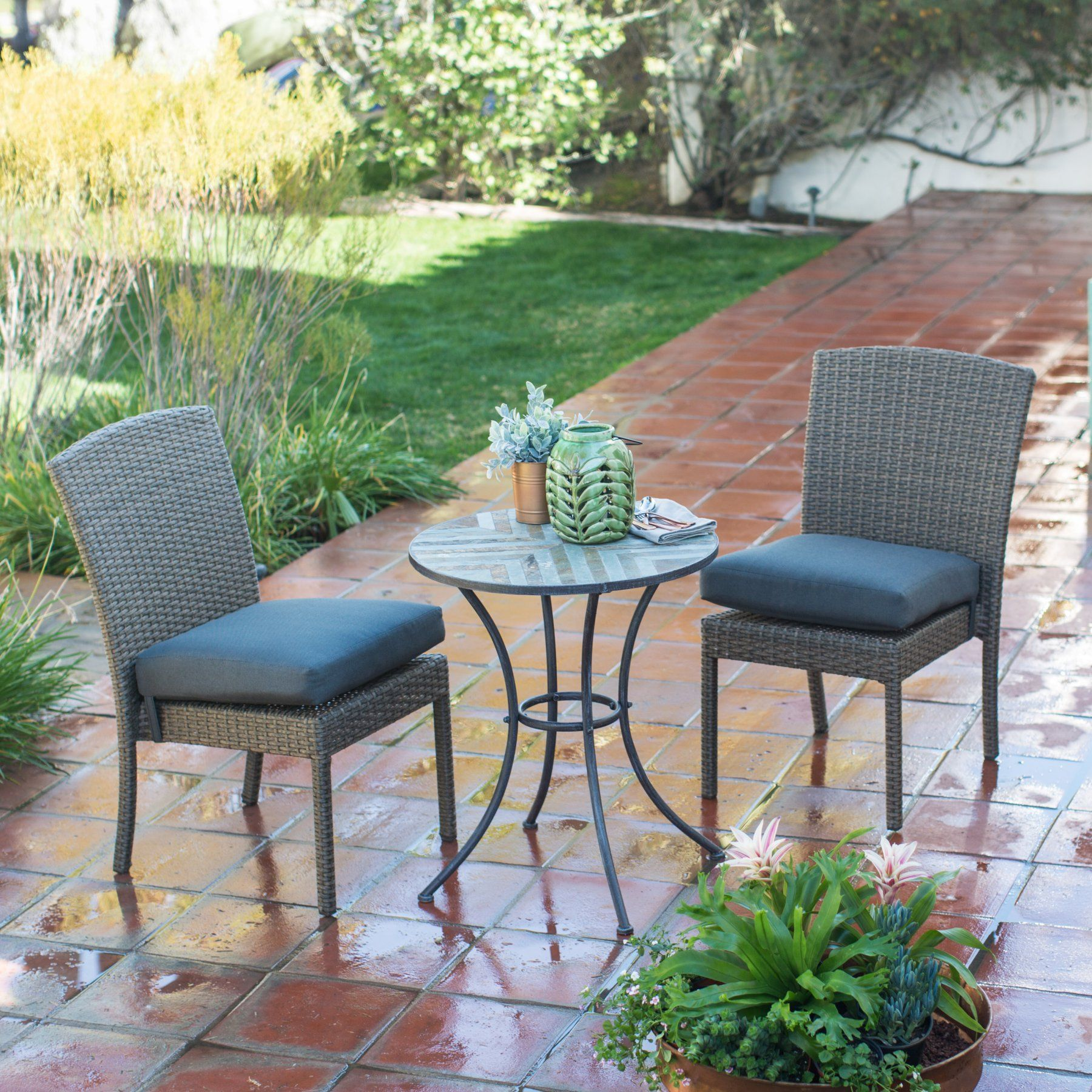 Outdoor Belham Living Ashera All Weather & Stone 3 Piece Patio Bistro Set - PSM360