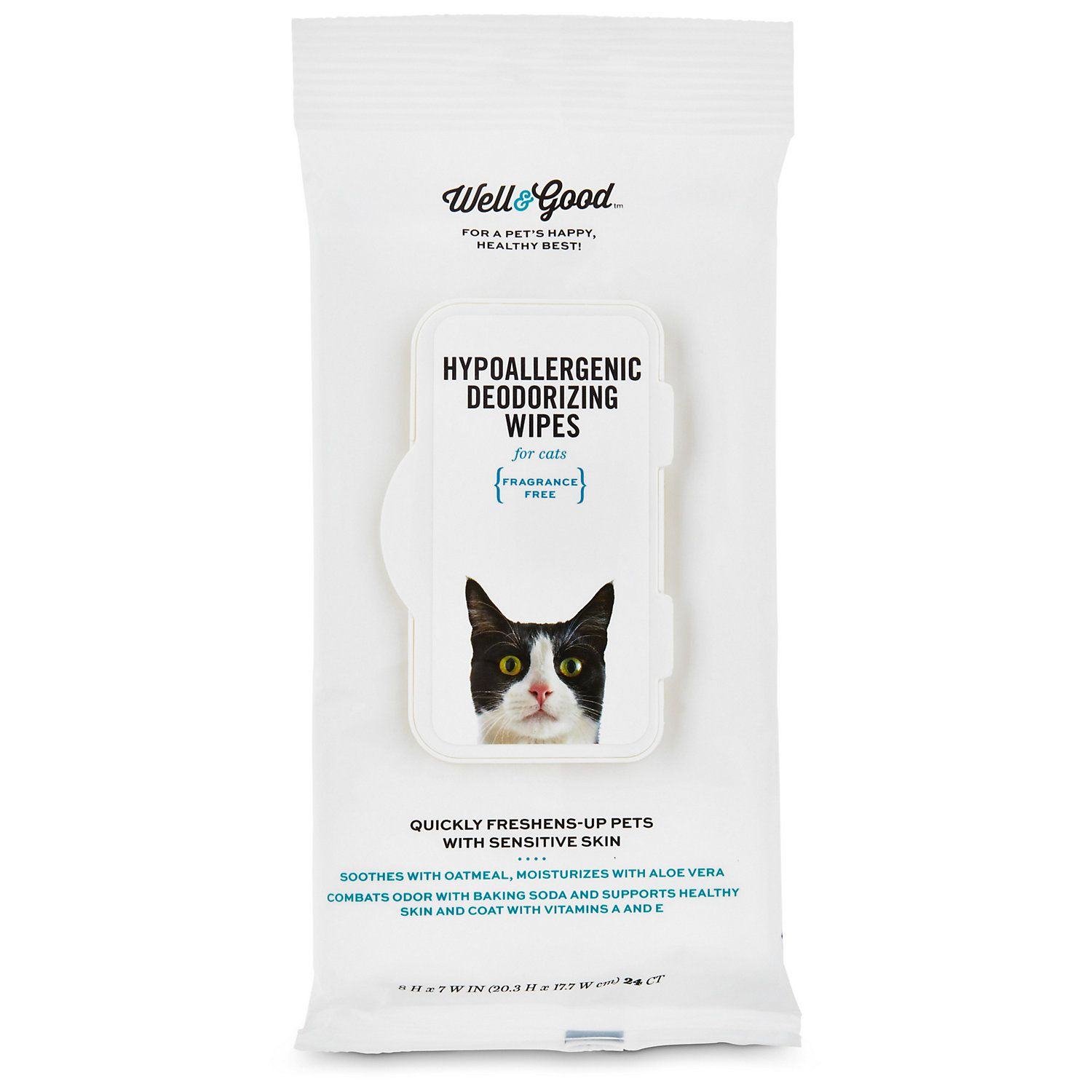 Well & Good Hypoallergenic Deodorizing Cat Wipes, Pack of