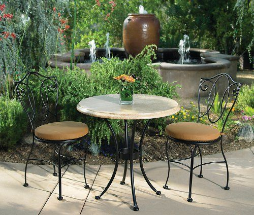 Patio Furniture for Small Outdoor Spaces: O.W. Lee's Mira: O.W. Lee's Mira Bistro Collection owes its inspiration to cathedral bells of Old Europe. The interlacing wrought iron back design is a reflection of that. Mira has the right kind of profile for a really small space. If you are interested in green products, O.W. Lee claims that its products have Zero VOC Emissions at the time of manufacturing and for the life of the product. Non-adherent primer coatings are reclaimed and re-used.
