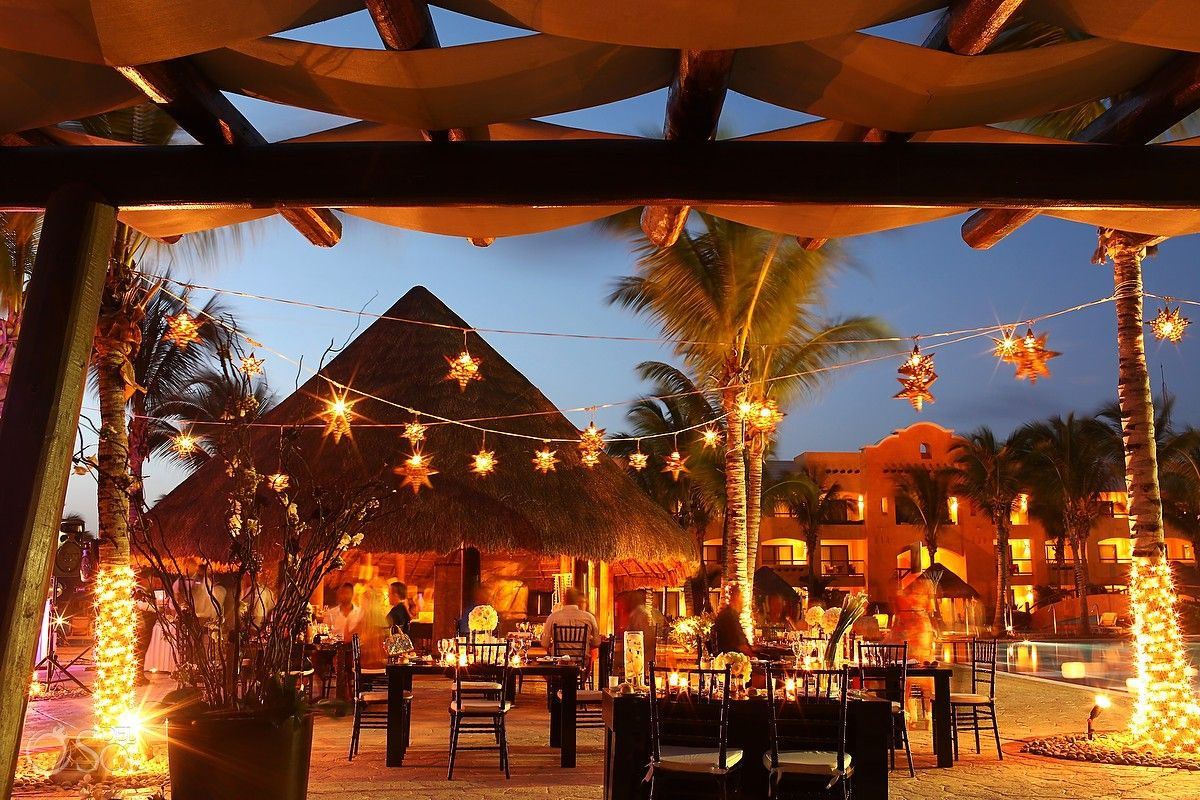 Riviera Maya Wedding At Barcelo Palace Beautiful Outdoor Reception Area The Star Lights