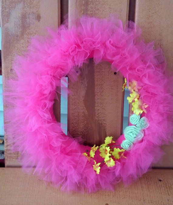 Pink Tulle Wreath by RosemaryTwine on Etsy, $20.00