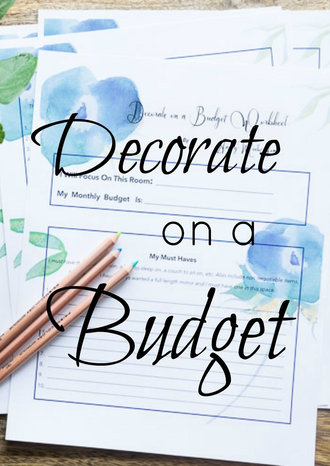 Decorating On A Budget Worksheet