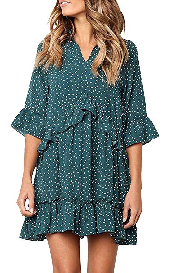 Ecowish Women's Dresses V Neck Ruffle Polka Dot Casual