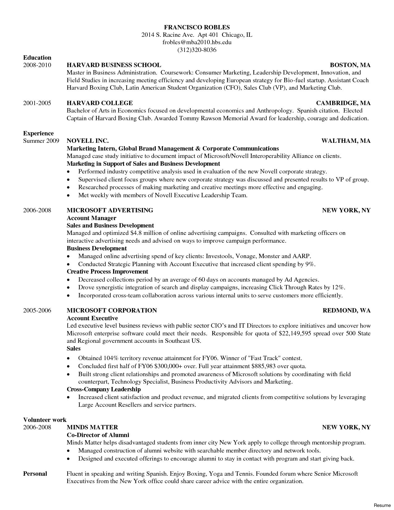 Cv Template Harvard 1 Cv Template Harvard Business