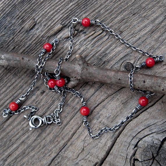 Red Coral Layering Necklace . red coral necklace by LisasLovlies