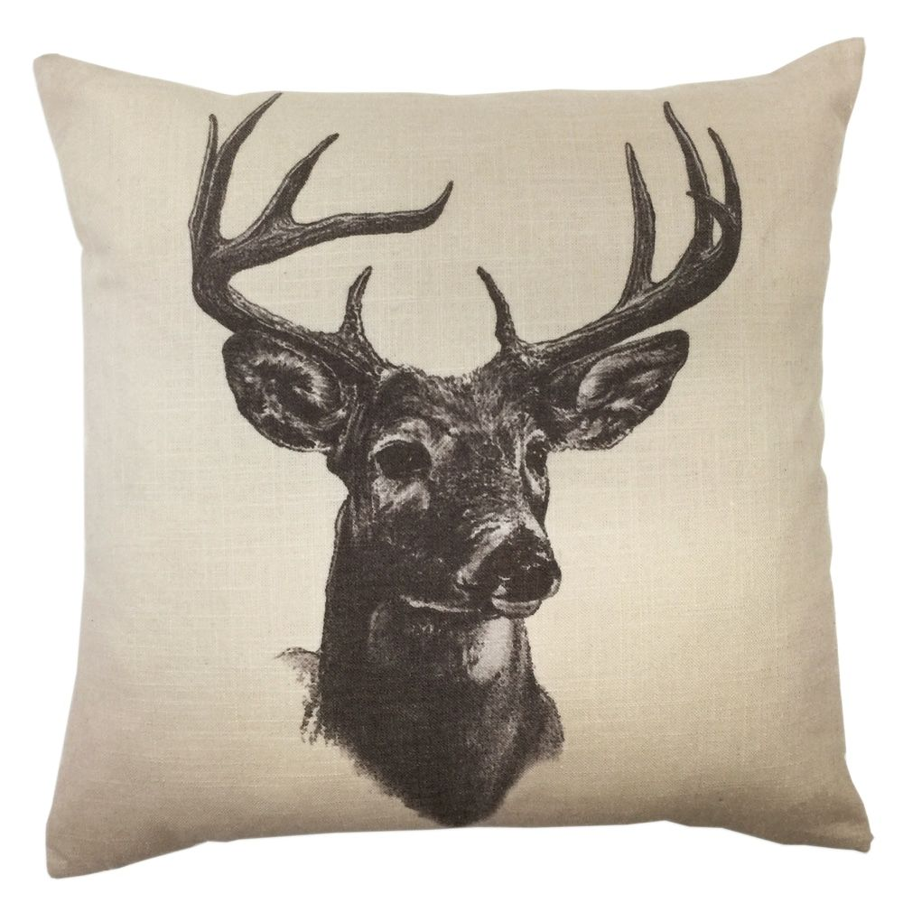 HiEnd Accents Whitetail Deer Linen PrintThrow Pillow 18 X 18 (Throw Pillows), Multicolor(Polyester, Animal)