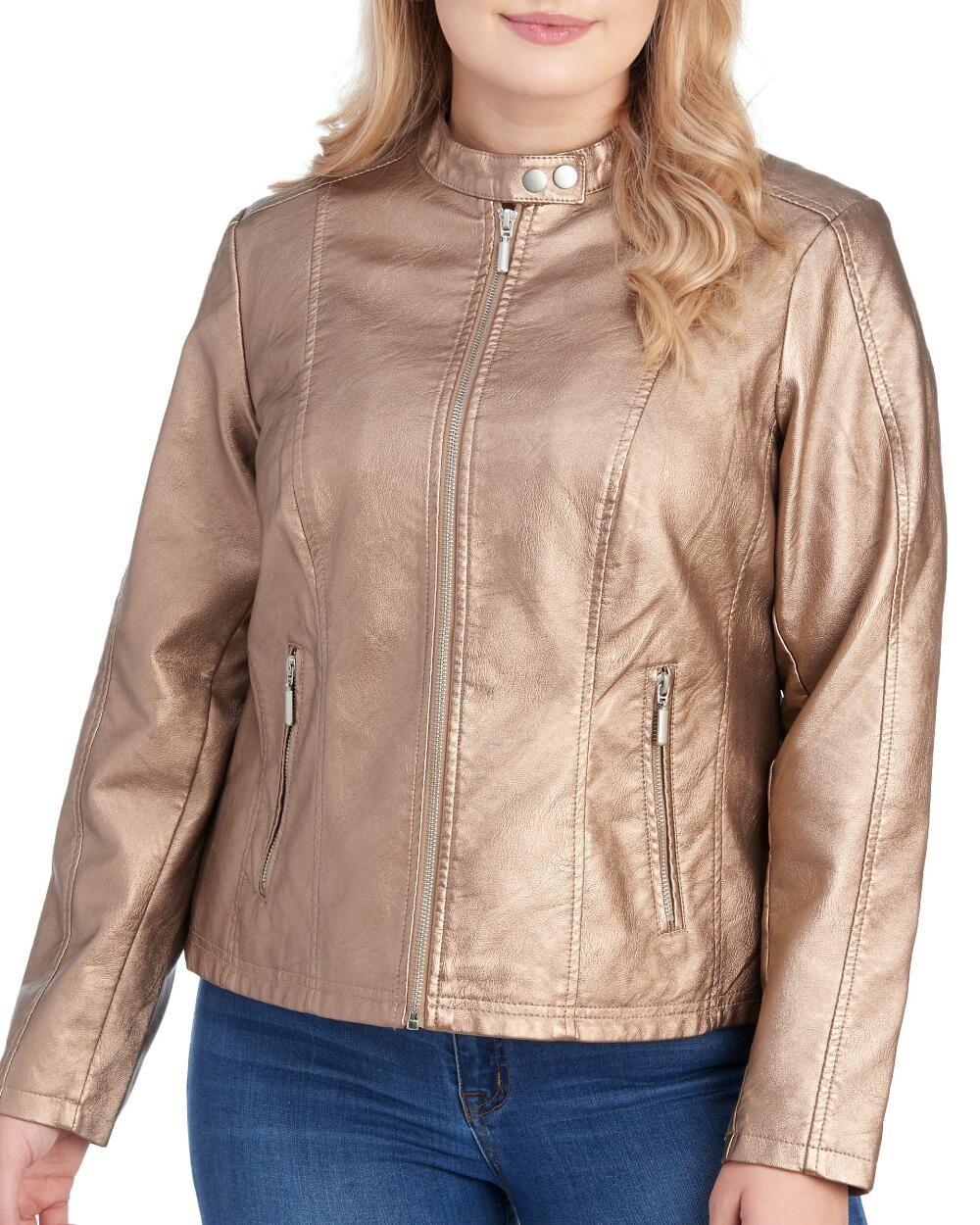 Women's Plus Size Faux Leather Moto Jacket Jackets, Moto