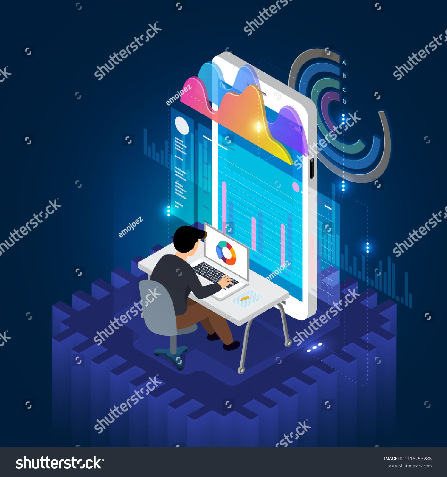 Isometric Illustrate Concept Businessman Analysis Data And