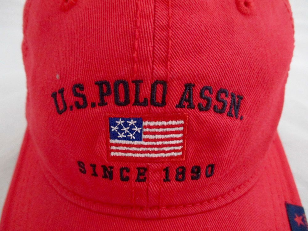 8de2b57bfcae5 US Polo Association Assn Hat Cap Velcro Adjustable Red Flag 100% Cotton   ConceptOne  BaseballCap