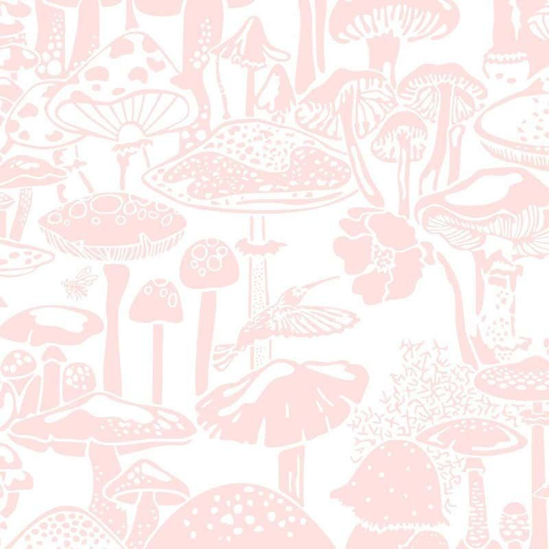 Mushroom City Designer Wallpaper In Daisy Pink And White Mushroom Wallpaper Wallpaper Wallpaper Pink And White